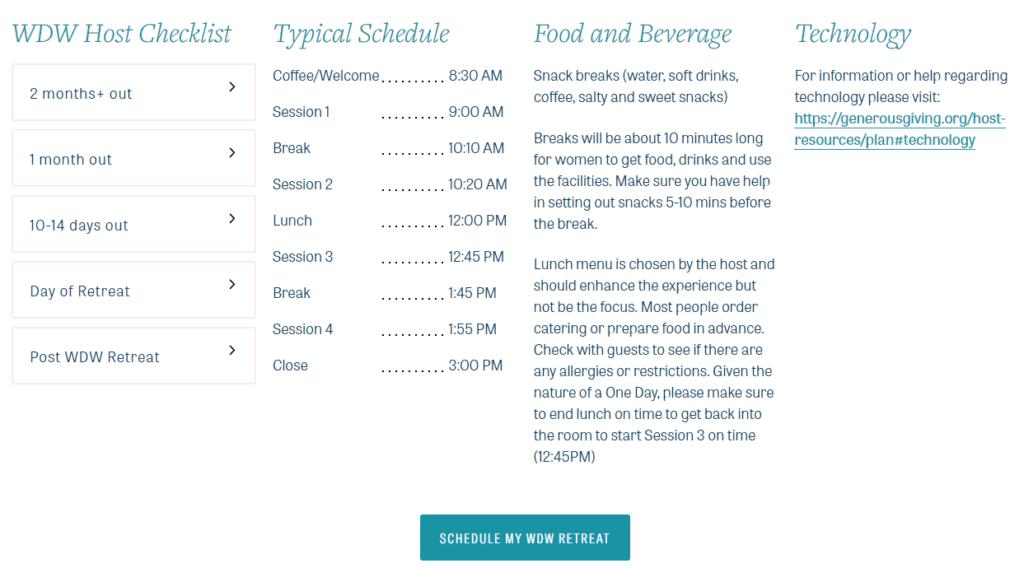 Retreat Resources details page